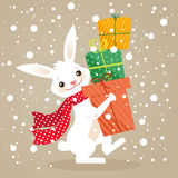 Christmas gifts. Bunny with Christmas gifts, vector illustration Stock Image