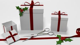 Christmas gifts. On the white background Royalty Free Stock Photos