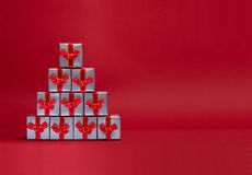 Christmas gifts. Gift boxes stacked as Christmas tree Royalty Free Stock Photo