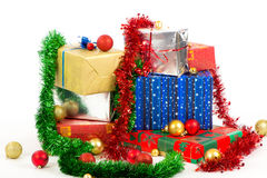 Christmas gifts. On white background Stock Photography