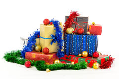 Christmas gifts. On white background Royalty Free Stock Photos