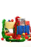Christmas gifts. On white background Stock Images