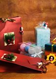 Christmas gifts. And props royalty free stock image