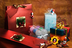 Christmas gifts. And decorations royalty free stock images