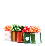 Christmas gifts. Isolated on white background Stock Photo