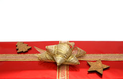 Christmas gifts. Christmas border. Gift boxes with golden ribbons isolated on white background Stock Photo