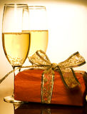 Christmas Gifts And Champagne Royalty Free Stock Images