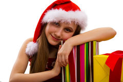 Christmas Gifts And Small Girl Santa Royalty Free Stock Photos