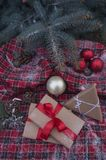 Christmas gifts in the anniversary frame. And fir tree stock photography