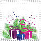 Christmas gifts on the background. Of pine branches, stars and snow stock illustration