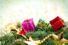 Christmas gifts background Stock Images