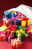 Christmas gifts bag.(vertical) Royalty Free Stock Image