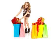 Christmas gifts bags birthday woman Royalty Free Stock Photography