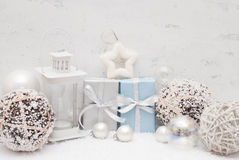 Christmas. Gifts, balls and candle Royalty Free Stock Photos