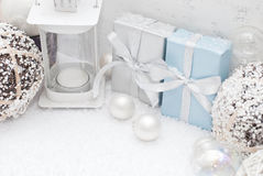 Christmas. Gifts, balls and candle Stock Photography