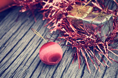 Christmas gifts with balls Royalty Free Stock Photo