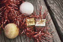 Christmas gifts with balls Stock Images