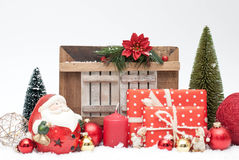 Christmas. Gifts, balls and Santa Claus Royalty Free Stock Image