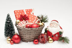 Christmas. Gifts, balls and Santa Claus Stock Image