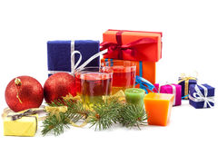 Christmas gifts balls and spruce branches. Royalty Free Stock Photos