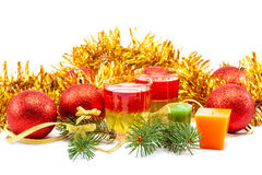 Christmas gifts balls and spruce branches. Stock Photo