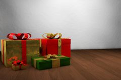 Christmas gifts. Beautiful colorful gifts with shiny wrapping paper Royalty Free Stock Photos