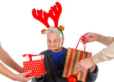 Christmas gifts for a beautiful grandmother Stock Image