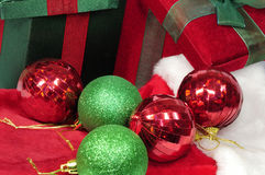 Christmas gifts and bells Stock Photo