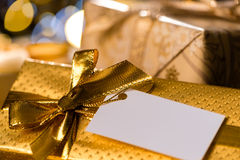 Christmas Gifts with blank label Royalty Free Stock Images