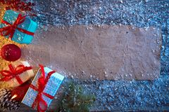 Christmas gifts and blank paper recycled royalty free stock photo