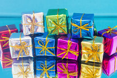 Christmas gifts on a blue Stock Photo