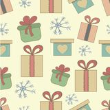 Christmas gifts box colorful graphic seamless. Christmas gifts box colorfu art graphic seamless pattern. Hand drawn illustration Stock Images