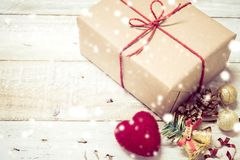 Free Christmas Gifts Box Presents And Heart On White Wooden Royalty Free Stock Images - 85905329
