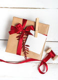 Christmas Gifts Box Presents On Wood Background Stock Images