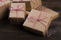 Free Christmas Gifts Box Presents With Red Balls On Wooden Background Royalty Free Stock Photos - 103935098