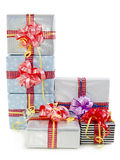 Christmas gifts boxes isolated Stock Photos