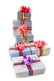 Christmas gifts boxes isolated Royalty Free Stock Photo