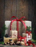 Christmas gifts. Boxes and nuts royalty free stock photos