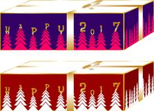 Christmas gifts boxes simple and elegant, decorated with trees and ribbon around, red and blue ing3. A Stock Illustration