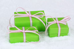 Christmas gifts in boxes with snow Royalty Free Stock Photography