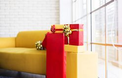 Christmas gifts boxes stack red and yellow color for the holiday season royalty free stock images