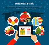 Christmas Gifts Buying Online Composition. With mobile device in hands, presents, decorations on blue background vector illustration Stock Photography