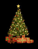 Christmas Gifts CA. A decorated Christmas tree and Christmas gifts Royalty Free Stock Photos