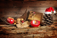 Christmas gifts, candle Royalty Free Stock Photos