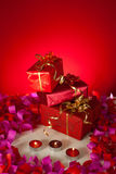 Christmas gifts and candles Stock Image
