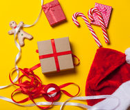 Christmas gifts and candy Royalty Free Stock Photo