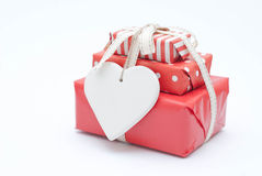 Christmas gifts. And ceramic heart Royalty Free Stock Photography