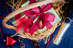 Christmas gifts and champagne with tangerines top view Stock Photos