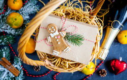 Christmas gifts and champagne with tangerines top view Royalty Free Stock Photo