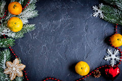Christmas gifts and champagne with tangerines top view Stock Photography